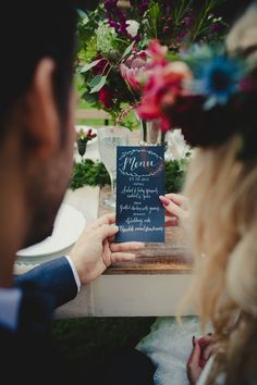 Menu | Just For Love Photography | see more on: http://burnettsboards.com/2014/08/intimate-wintry-garden-wedding/