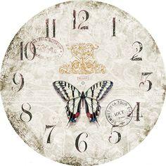 Miniature Printables - Butterfly Clock Face (V) Clock Craft, Diy Clock, Blank Clock Faces, Clock Face Printable, Vintage Crafts, Wall Art Prints, Pattern Design, Miniatures, Printables