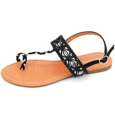 d21195b27c8b Luo Luo Womens Black T Strap Sandals 6 M US  gt  gt  gt