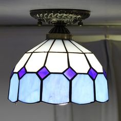 Blue Glow Tiffany Ceiling Lamp