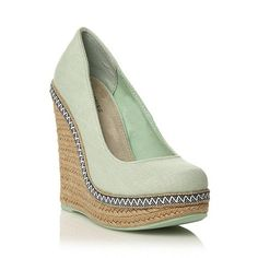 Call It Spring Light Green Canvas Round Toe 'Weslia' High Heeled Wedge Sandals- at Debenhams.com