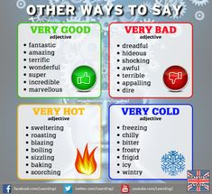 "VOCABULARY Instead of ""very"" - Repinned by Chesapeake College Adult Ed. We offer free classes on the Eastern Shore of MD to help you earn your GED - H.S. Diploma or Learn English (ESL). www.Chesapeake.edu"