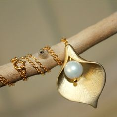 Gold Calla Lily Necklace Pearl Necklace by anatoliantaledesign, $29.00