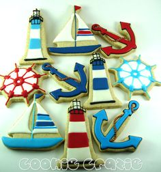 Nautical cookies -would be cute for a nautical themed baby shower! Nautical Wedding, Nautical Theme, Nautical Party Favors, Nautical Cake, Nautical Style, Cookies Decorados, Party Fiesta, Cupcake Cakes, Cupcakes