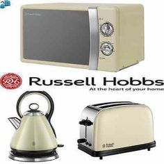 Cream Stainless Steel Rus Hobbs Microwave Kettle And Toaster Set