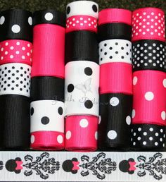 Grosgrain Ribbon Lot MIx 24YDS Minnie Mouse by FaithRibbonsDotCom