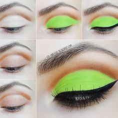 A jolt of neon green with a soft brown shadow totally amplifies this winged cut crease. Take a peek at the makeup must-haves and tutorial of this look and steal the spotlight on your next night out.