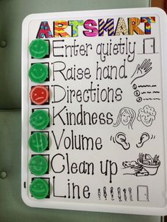A clean sweep- goals for the artroom. Like visual of class' overall performance