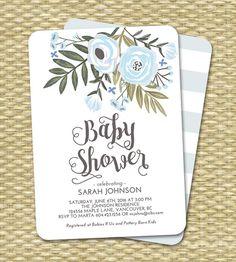 Baby Boy Shower Invitation Floral Blue Mint por SunshinePrintables