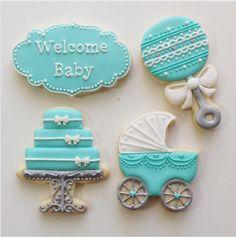 "Jessica Edwards on Instagram: ""#cookies #customcookies #decoratedcookies #babyshowercookies #tiffanyblue #saskatoon #yxe"""