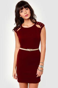 Sexy Studded Dress - Burgundy Dress - Body-Con Dress - $40.00