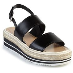 Prada Microsole Leather Double-Band Sandals (3,395 ILS) ❤ liked on Polyvore featuring shoes, sandals, apparel & accessories, black, prada sandals, espadrille sandals, black espadrilles, leather shoes and leather ankle strap sandals