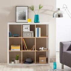 etagere bibliotheque en bois 9 cases l102xp30xh102cm simply