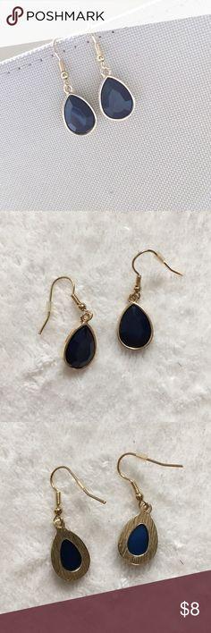 teardrop earrings Old Navy faux gold and navy blue teardrop dangle earrings. Brand new without tags. / earrings, drop, dangle, gemstone, navy, blue, gold / Old Navy Jewelry Earrings