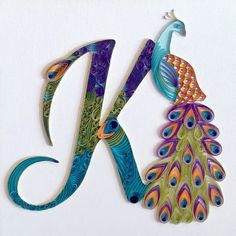 Items similar to Custom Initial Peacock Art Wall Hanging. Quilling Art Wall Decor Home Decor. on Etsy Arte Quilling, Quilling Letters, Paper Quilling Designs, Quilling Paper Craft, Paper Crafts, Peacock Quilling, Peacock Crafts, Peacock Art, Peacock Jewelry