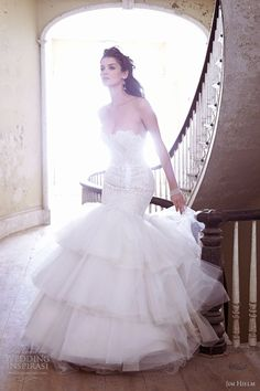 Cheap long wedding dress, Buy Quality wedding dress directly from China vestido de noiva Suppliers: Vestidos De Noiva White Mermaid Long Wedding Dresses With Elegant Lace Ruffle Tiered Skirt For Bridal Wear Jim Hjelm Wedding Dresses, Wedding Dress 2013, Wedding Dresses Photos, Used Wedding Dresses, Perfect Wedding Dress, Wedding Attire, Wedding Gowns, Bride Dresses, Lace Wedding