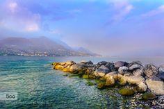 Lago di Garda. Stones by DmytroKorol  Garda Lombardy Salo alpine alps autumn boulder clouds day europe evening fog idyllic italy lake land