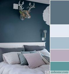 Grayish blue and bluish gray color tones set a soothing atmosphere in rooms and create beautiful, modern color schemes with whites, warm purple, and turquoise-green colors