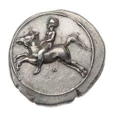 Nommos - argento - Taras (Tarentum) (ca.390 a.C.) - giovane nudo su cavallo in corsa vs. sn. entro anello - MFA
