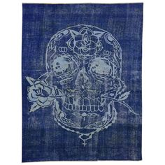 """Overdyed Blue Vintage Rug with Sugar Skull and Rose, 07'10"""" x 10'02"""" 