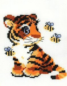 Stripies Tiger Cub And Bees Cross Stitch Kit 15cm x 18cm Ideal For Beginner