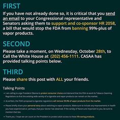 repost via @instarepost20 from @notblowingsmokeorg #CASAA #CALLTOACTION THIS IS A NATIONWIDE CALL TO ALL VAPERS! There are 3 steps to follow in the image above.  We need EVERY VAPER to tell the White House to urge the FDA to rework the deeming regulations so that LIFE SAVING Vapor Products can remain on the market!  All you have to do is outlined in the image above with the CORRECT phone number to the White House and after you're done as Step Three indicates SHARE THIS EVERYWHERE! Sharing…