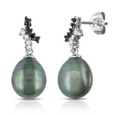 10k White Gold Black Tahitian Cultured Pearl with Diamond Accent Earrings (1/7 cttw, H-I Color, I2-I3 Clarity) Amazon Curated Collection. $216.00. Made in china. Black 8.5-9.0mm Tahitian pearl earrings. Includes diamond accents