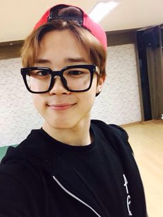"Jimin says ""What I look like with glasses."""