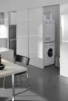 """Spatia, Italian #kitchen Arclinea...washer and dryer """"hiding"""" behind a kitchen wall, may just work"""