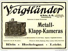 Original-Werbung/Inserat/ Anzeige 1908 - VOIGTLÄNDER METALL-KLAPP-KAMERAS - ca. 140 x 110 mm