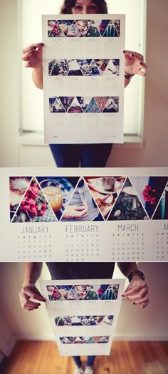 DIY Photo year calender. -put above desk  -triangles without calender  -good pictures from magazines(artistic)
