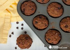Banana Bread Coconut Muffins with Carob Chips -- Healthy banana bread muffins loaded with coconut flakes' crunch and carob chips' sweetness. Made with applesauce, egg whites