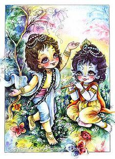 Krishna and Balarama playing by ISKCON desire tree