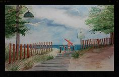 My favorite beach on Lake Michigan.  Original watercolor painting $65.00 Debra L Pate           https://m.facebook.com/Debra-L-Pate-Art-328734007290414/