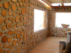 Cordwood -- beautiful and bright. I might tint that concrete...