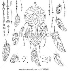 Set of ornaments, feathers and beads. Native american indian dream catcher, traditional symbol - stock vector
