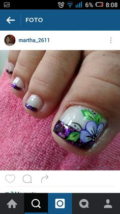Uñas Pedicure Nail Art, Toe Nail Art, Toe Nails, Acrylic Nails, Cute Pedicure Designs, Toe Nail Designs, Cute Pedicures, New Nail Art Design, Beauty