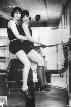 Lorraine Buck and Cecily-Anne Broncko compete in the first ever 'Womens couples horse-free-no-harm-to-animals Dressage' event at the '53 Olympics.