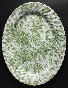 Vintage Green English Transferware Platter Scottish Paisley Toile Flor