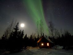 cabin under Northern lights  Northwest territory Canada