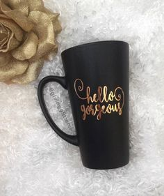 Hello Gorgeous // Matte Black Coffee Mug by GivingGlitterCo on Etsy https://www.etsy.com/listing/266983303/hello-gorgeous-matte-black-coffee-mug