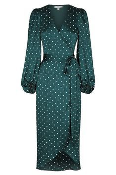Martina wrap midi dress Wrap midi dress in the exclusive Martina emerald and ivory spot. This dress in a luxurious light weight woven with a silk touch features low … Ivory Dresses, Elegant Dresses, Pretty Dresses, Beautiful Dresses, Casual Dresses, Fashion Dresses, Dresses For Work, Formal Dresses, Maxi Dresses