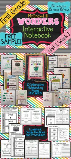 FREE SAMPLE! Brand New First Grade McGraw-Hill Wonders INTERACTIVE NOTEBOOKS!   1st Grade   Literacy   journals