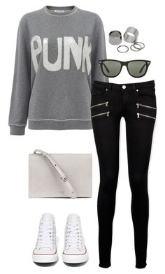 """""""Untitled #3063"""" by meandelstyle ❤ liked on Polyvore featuring Bella Freud, Paige Denim, Converse, Ray-Ban and Pieces"""