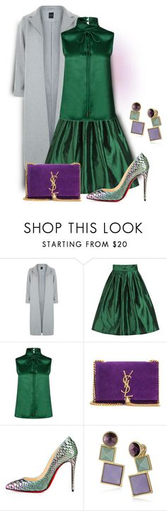 """""""Green, Grey, And Purple"""" by sjlew ❤ liked on Polyvore featuring New Look, Dsquared2, Yves Saint Laurent, Christian Louboutin and Rebecca Minkoff"""