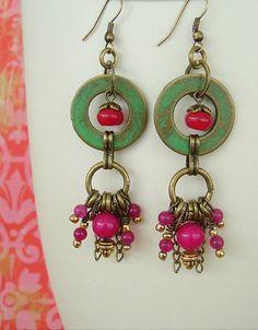 Boho Earrings Junk Gypsy Dangle Earrings Assemblage by BohoStyleMe Bohemian Jewelry, Wire Jewelry, Beaded Jewelry, Handmade Jewelry, Unique Jewelry, Punk Jewelry, Bullet Jewelry, Western Jewelry, Gothic Jewelry