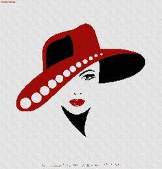 0 point de croix femme au chapeau rouge - cross stitch lady with red hat