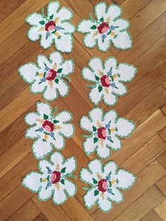 8 Vintage Textile Hungarian handmade vintage Embroidery doilies green maple leaf