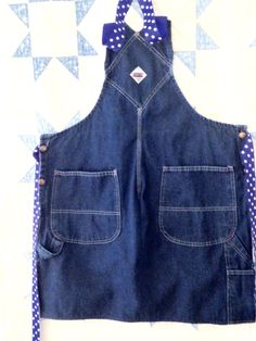 Adult Upcycled Denim Bib Overall Apron. Adjustable for full coverage. $25 by RowesFlyingNeedles
