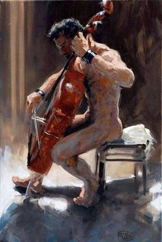 """"""" Robert C. Rore, WV 8138, """"Hauskonzert (Der Cellist)"""" Robert C. Rore is a German painter and draftsman born in 1954 in Berchtesgaden that trained as a chemical engineer, opted..."""